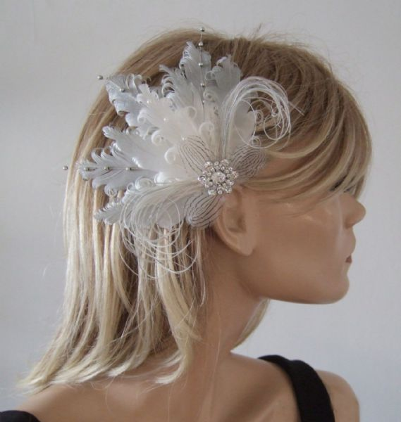 "Silver White Ombre Fascinator Curled Goose Nagoire Feathers Bridal Clip ""Perla"""